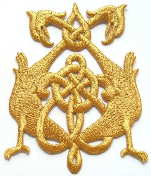 Applikation Patch Tribal 8 x 10,5cm Farbe: Lurex-Gold