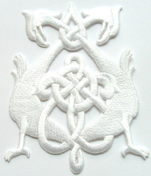 Applikation Patch Tribal 8 x 10,5cm Farbe: Weiss