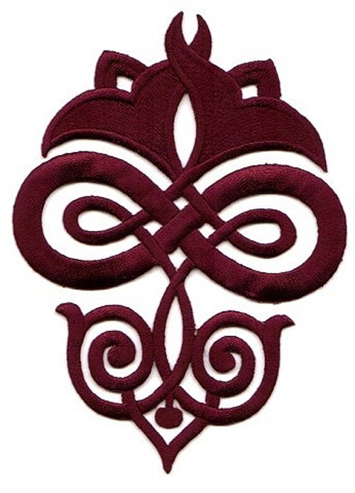 Applikation Patch Tribal 9,3 x 12,5cm Farbe: Bordeaux