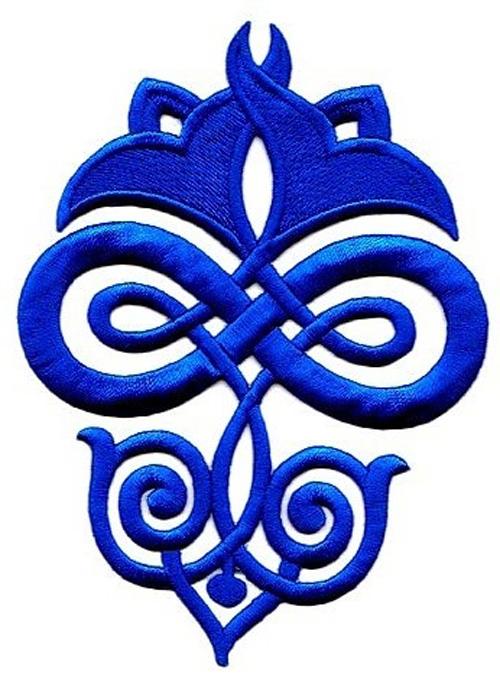 Applikation Patch Tribal 9,3 x 12,5cm Farbe: Blau