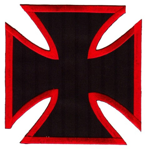 1 Applikationen Tribal Kreuz Farbe: Schwarz-Rot 17,8 x 17,2cm