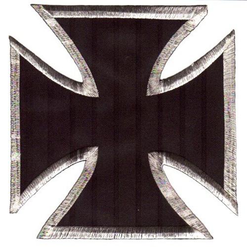 1 Applikationen Tribal Kreuz Farbe: Schwarz-Silber 17,8x17,2cm