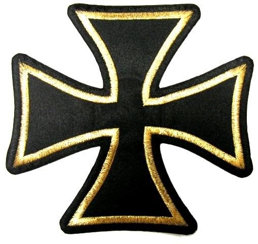 1 Applikationen Tribal Kreuz Farbe: Schwarz-Gold 17,5 x 18,5cm