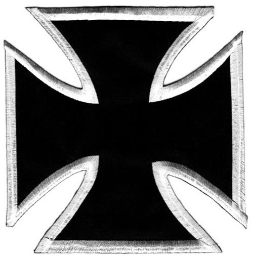 1 Applikationen Tribal Kreuz Farbe: Schwarz-Weiss 17,8x17,2cm