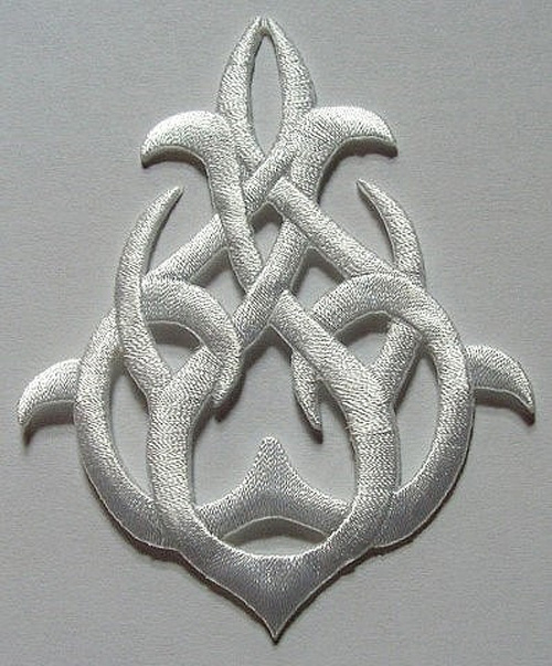 Applikation Patch Tribal 7,5 x 9,5cm Farbe: Weiss
