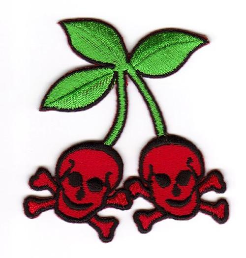 Skull-Cherry zum Aufbügeln 6,5 x 7cm Farbe: Rot