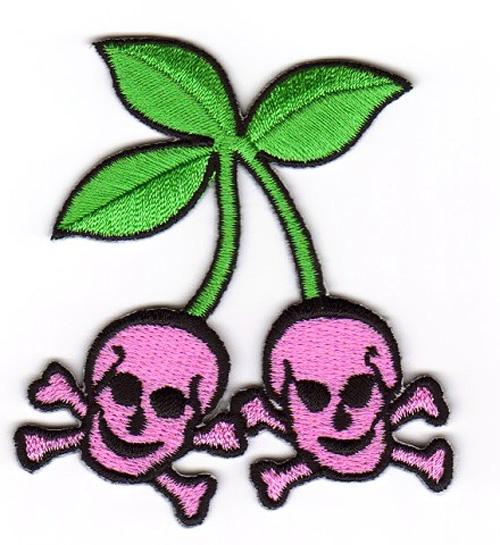 Skull-Cherry zum Aufbügeln 6,5 x 7cm Farbe: Pink