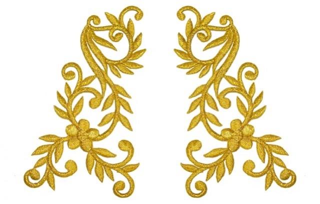 1 Paar Applikationen Tribal Farbe: Lurex-Gold 14x13cm höhere Qualität