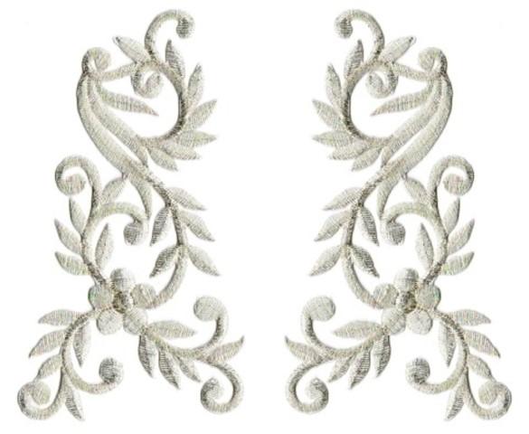 1 Paar Applikationen Tribal Farbe: Lurex-Silber 14 x 13cm AA512-6-CN