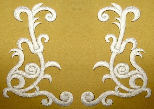 1 Paar Applikationen Farbe: Weiss 10,5 x 7,5cm höhere Qualität