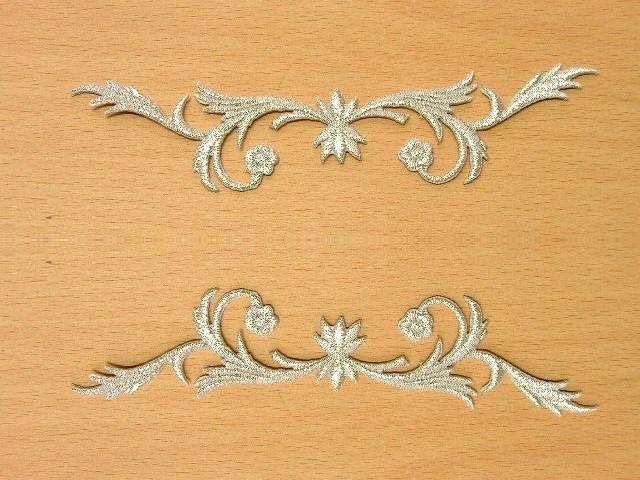 1 Paar historische Applikationen Patch Farbe: Lurex-Silber - höhere Qualität