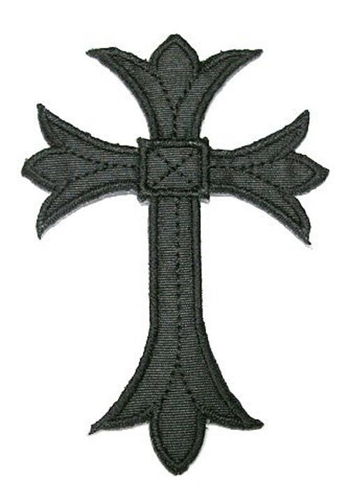 1 Applikationen Kreuz Farbe: Schwarz 5,3 x 7,6cm hohe Qualität