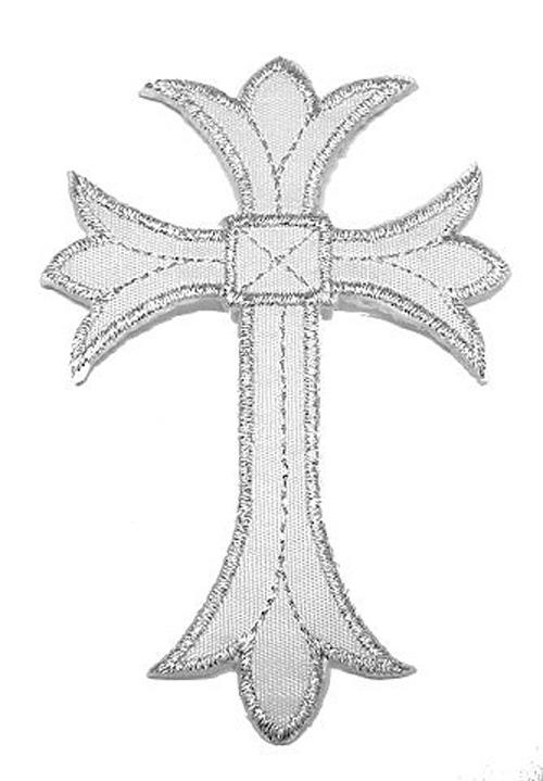 1 Applikationen Kreuz Farbe: Lurex-Silber 5,3x7,6cm