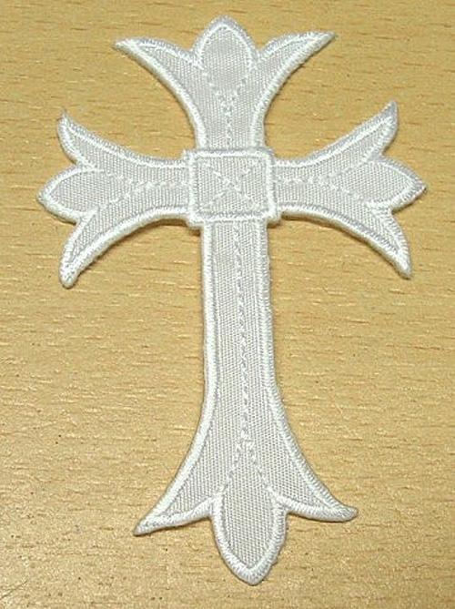 1 Applikationen Kreuz Farbe: Weiss 5,3 x 7,6cm höhere Qualität