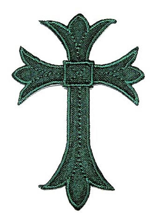 1 Applikationen Kreuz Farbe: Tannengrün 5,3 x 7,6cm hohe Qualität
