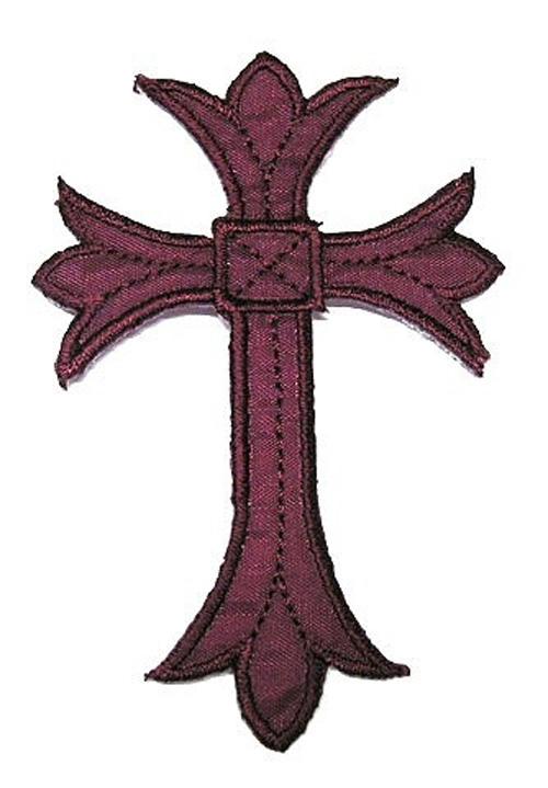 1 Applikationen Kreuz Farbe: Bordeaux 3,5 x5,2cm hohe Qualität