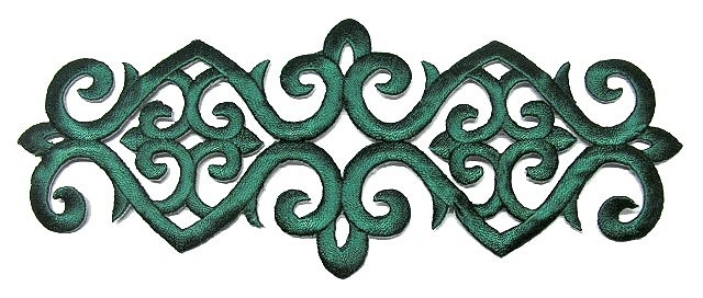 Applikation Patch Tribal 20 x 8cm Farbe: Tannengrün