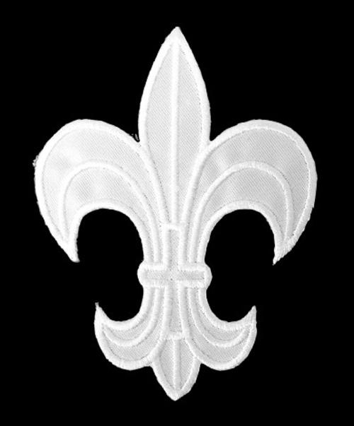 1 Applikation Königslilie Fleur de Lis 6 x 8cm Farbe: Weiss