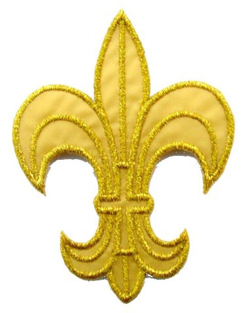 1 Applikation Königslilie Fleur de Lis 6 x 8cm Farbe: Lurex-Gold