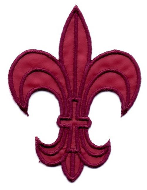 1 Applikation Königslilie Fleur de Lis 6 x 8cm Farbe: Bordeaux