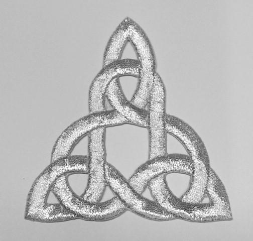 1 Stück Applikation Celtic Triade 7,5x8cm Farbe: Lurex-Silber
