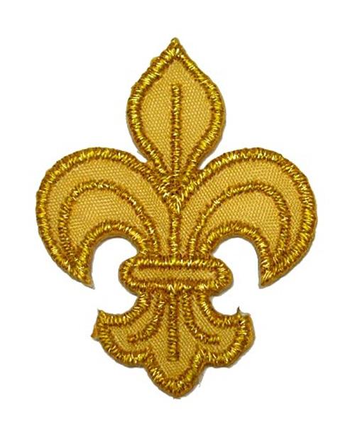 1 Applikation Königslilie Fleur de Lis 3 x 4,2cm Farbe: Lurex-Gold