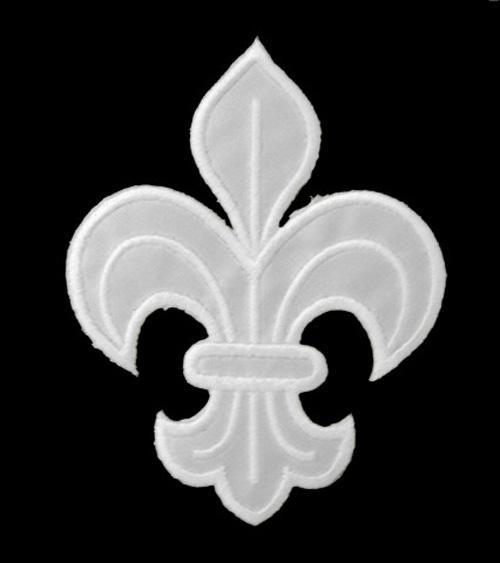 1 Applikation Königslilie Fleur de Lis 4,5 x 6cm Farbe: Weiss