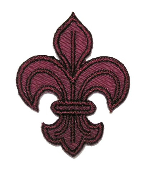 1 Applikation Königslilie Fleur de Lis 4,5 x 6cm Farbe: Bordeaux