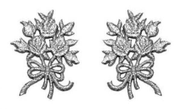 1 Paar Applikationen Rosenstrauß AA340-36