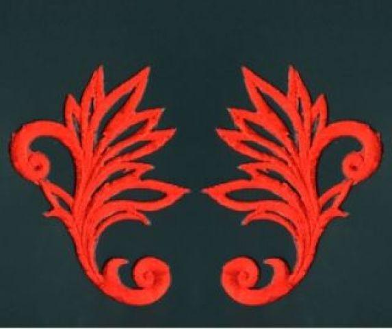 1 Paar historische Applikationen AF40-2 Farbe: Rot