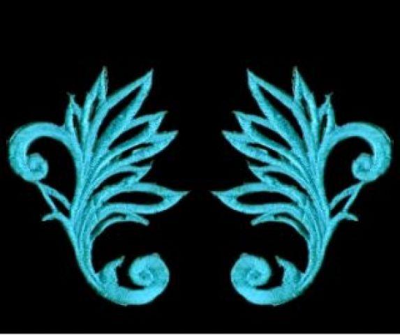 1 Paar historische Applikationen AF40-4 Farbe: Royalblau