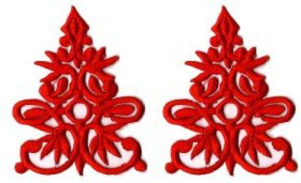 1 Paar historische Applikationen AF41-2 Farbe: Rot