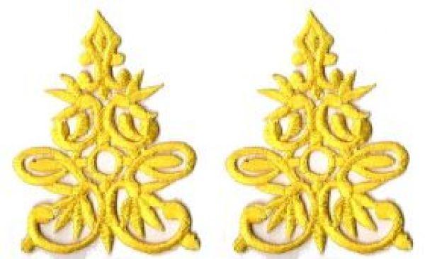 1 Paar historische Applikationen AF41-7 Farbe: Gelb