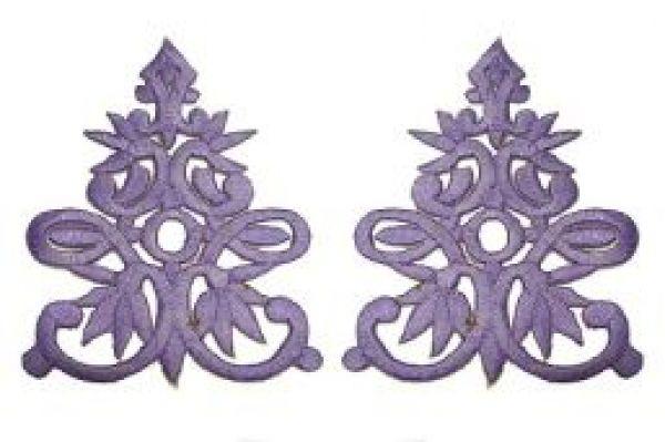 1 Paar historische Applikationen AF41-9 Farbe: Violett