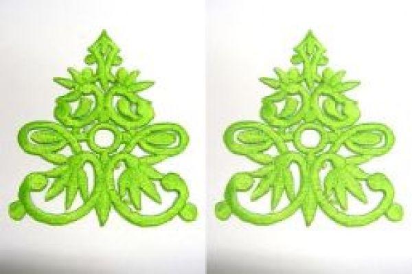 1 Paar historische Applikationen Farbe: Hellgrün