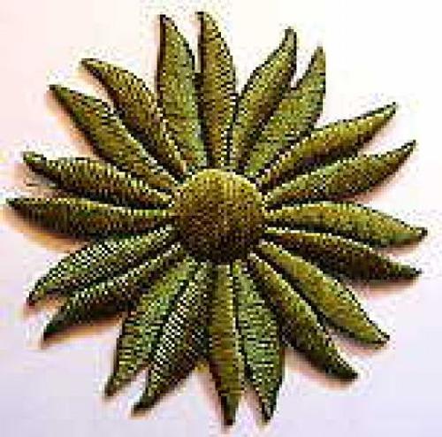 Margeriten-Applikationen Durchmesser 5cm AA106-14 Farbe: Tannengrün