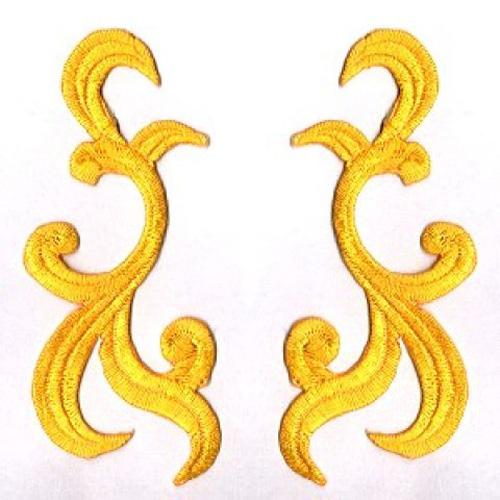 1 Paar historische Applikationen AF42-7 Farbe: Gelb