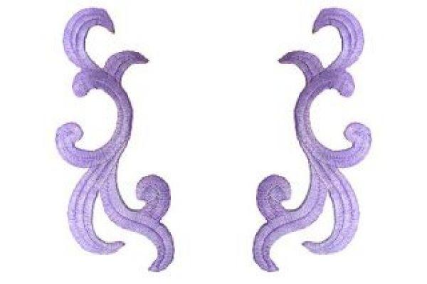 1 Paar historische Applikationen AF42-9 Farbe: violett