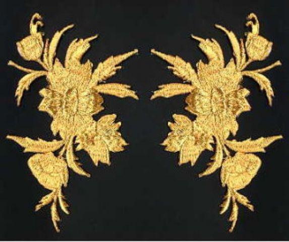 1 Paar historische Applikationen AF45-1 Farbe: Gold