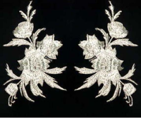 1 Paar historische Applikationen AF45-2 Farbe: Silber