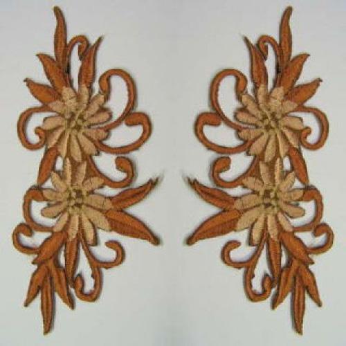 1 Paar Blumenapplikationen AF73-4 Farbe: braun