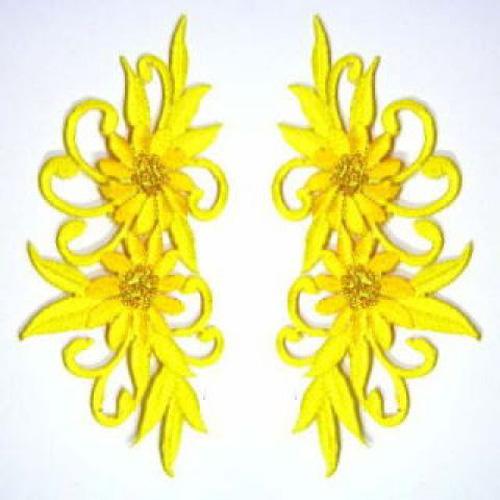 1 Paar Blumenapplikationen AF73-13 Farbe: gelb
