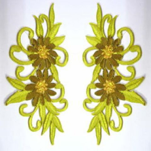 1 Paar Blumenapplikationen AF73-14 Farbe: grün-gelb