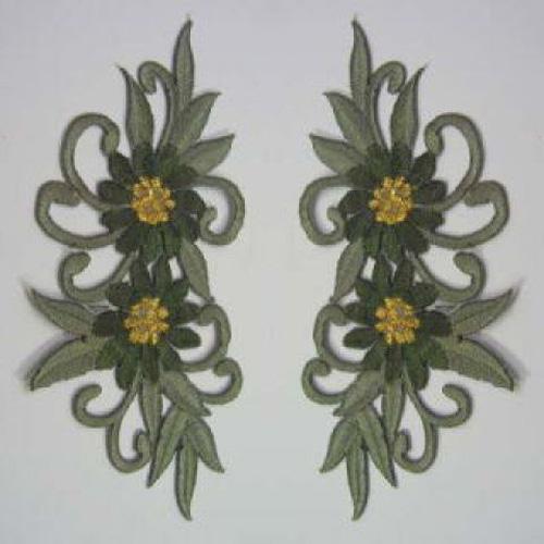 1 Paar Blumenapplikationen AF73-15 Farbe: Grau