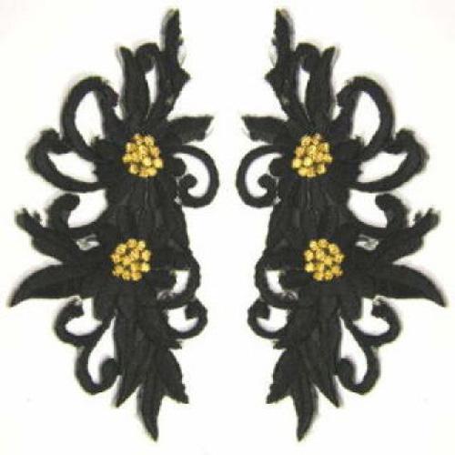 1 Paar Blumenapplikationen AF73-16 Farbe: schwarz