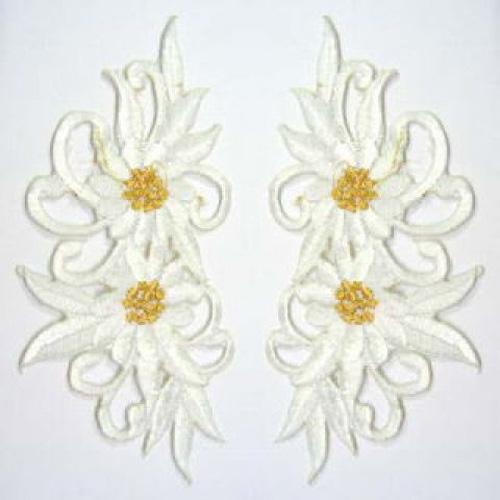 1 Paar Blumenapplikationen AF73-17 Farbe: weiss