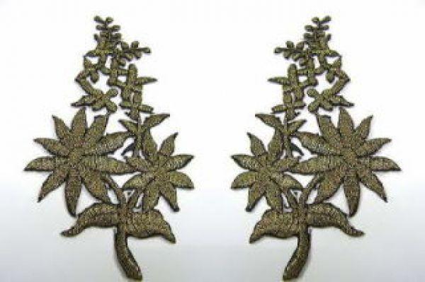1 Paar Blumenapplikationen AF74-1 Farbe: schwarz-gold