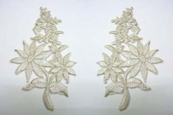 1 Paar Blumenapplikationen AF74-4 Farbe: Silber