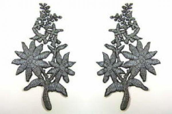 1 Paar Blumenapplikationen AF74-5 Farbe: schwarz-silber