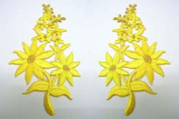 1 Paar Blumenapplikationen AF74-9 Farbe: gelb